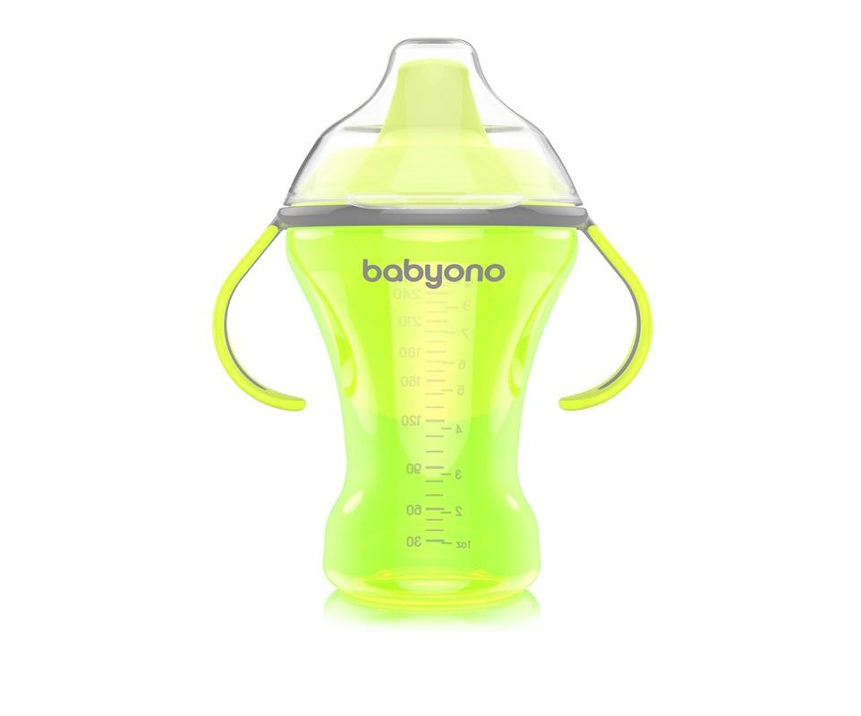 BABYONO - Hrnek netekoucí s tvrdým pítkem NATURAL Nursing 260 ml - zelený