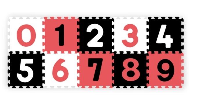 BABYONO - Pěnové puzzle - Čísla, 10ks, černá/červená/bílá