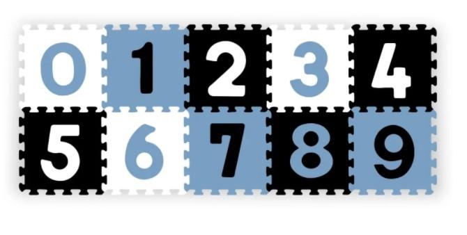 BABYONO - Pěnové puzzle - Čísla, 10ks, černá/modrá/bílá