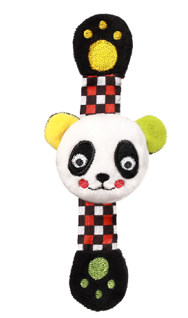 BABYONO - Plyšové chrastítko na ruku Panda Archie, 16 cm