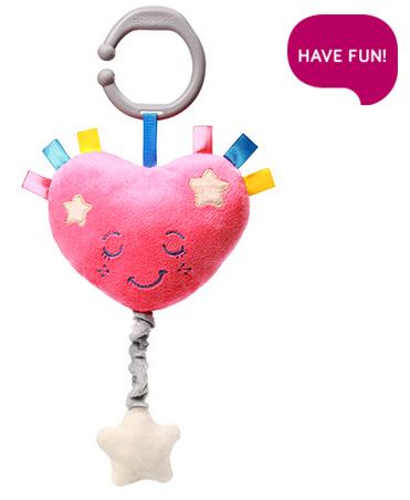 BABYONO - Plyšové srdíčko s hracím strojkem Lullaby Heart - růžové