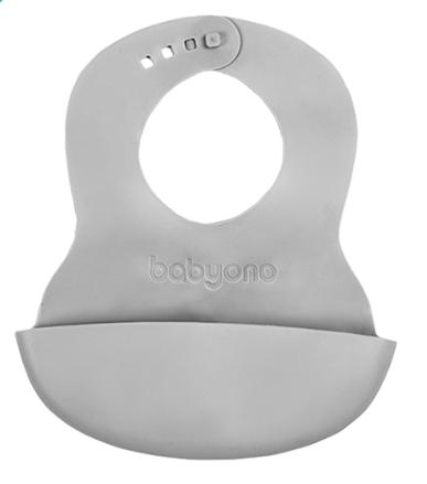 BABYONO - Silikonový bryndák - šedý
