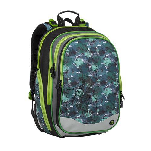 BAGMASTER - Školní batoh ELEMENT 9 B Black / Green / Gray