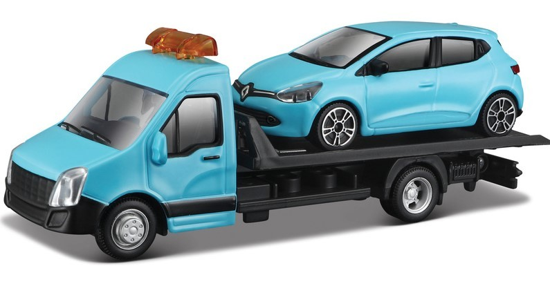 BBURAGO - 1:43 Odtahovka + Renault Clio modré