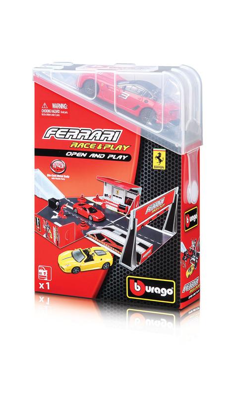 BBURAGO - Ferrari Open & Play Hrací set s autíčkem