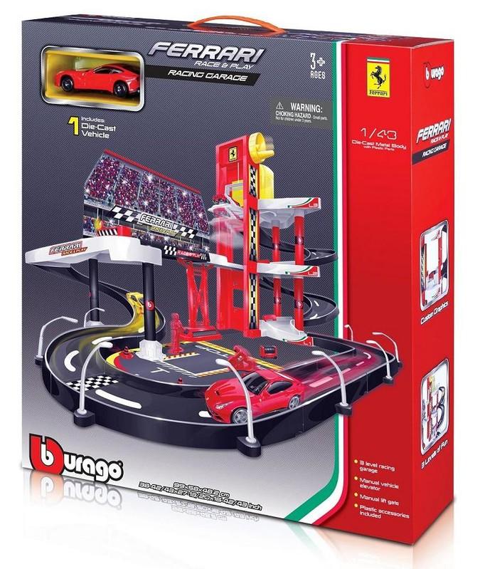 BBURAGO - Ferrari Racing garáž s jedným autíčkom 30197
