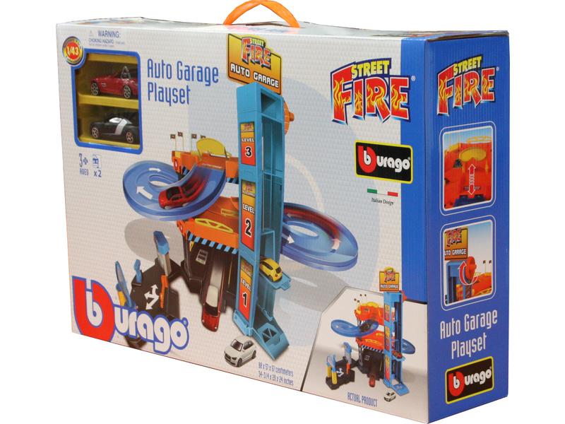 BBURAGO - Garáž Street Fire Down Hill se dvěma autíčky 30361