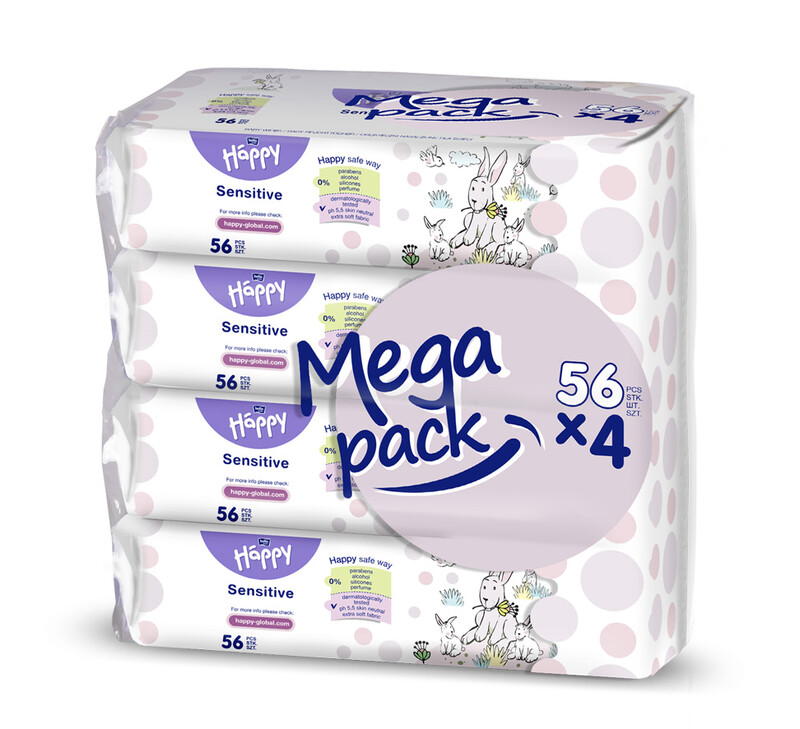 BELLAHAPPY - 4x BABY Vlhčené ubrousky sensitive s aloe vera 56 ks, MEGA PACK