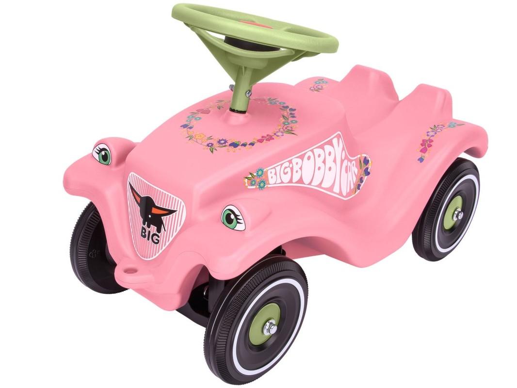 BIG - Auto Odstrkovadlo Big Bobby Car Classic Růžové S Kytičkami