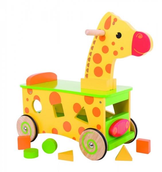 BIGJIGS - Edukační dřevěné jezdítko, odrážedlo - Žirafa