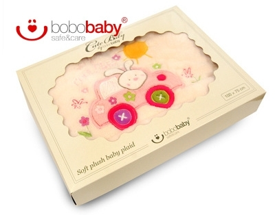 BOBO BABY - Dětská deka - Králíček v autě - krémová/růžová