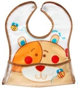 BOBO BABY - Dětská zástěrka, bryndák Medvídek - hnědý