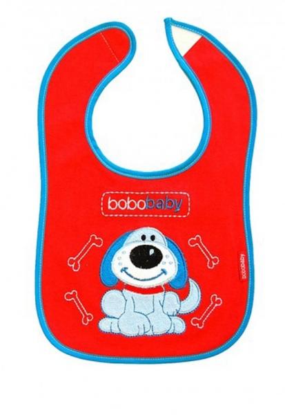 BOBO BABY - Třívrstvý bavlněný bryndáček Pejsek - červený