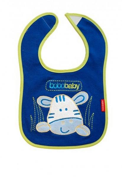 BOBO BABY - Třívrstvý bavlněný bryndáček Zebra - modrý