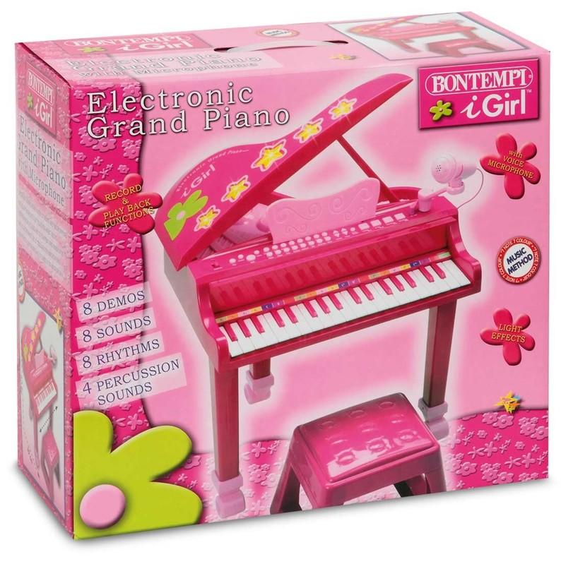 BONTEMPI - Dětské elektronické Grand piano se stoličkou a mikrofonem růžové GP3971