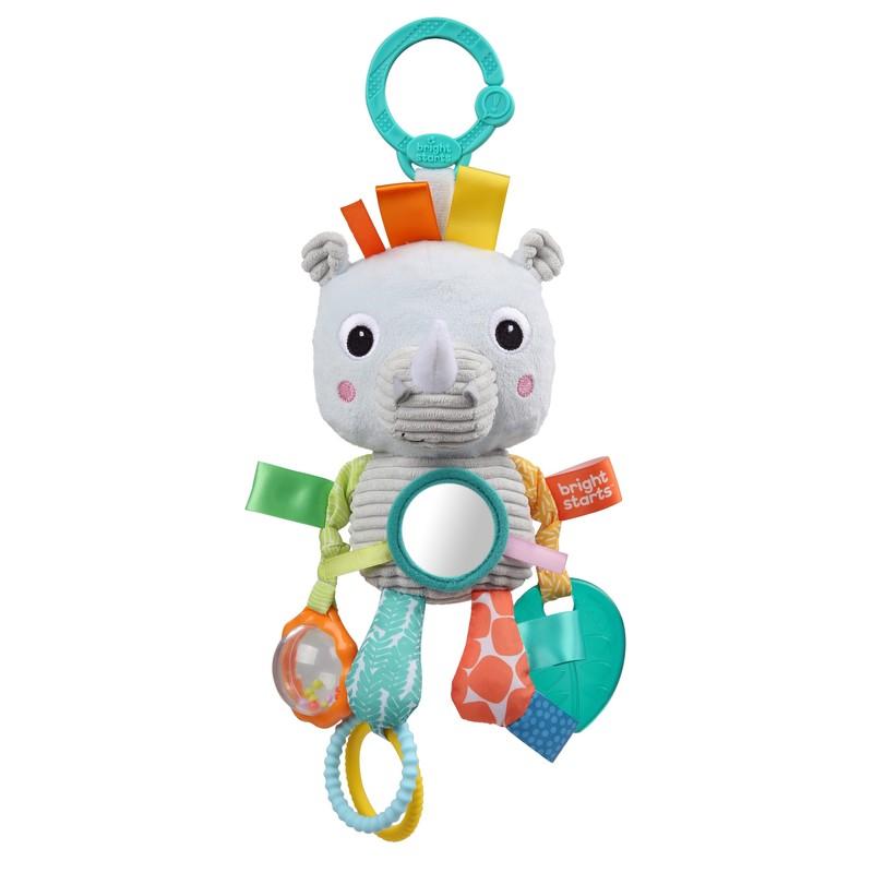 BRIGHT STARTS - Hračka na C kroužku Playful Pals nosorožec 0m +