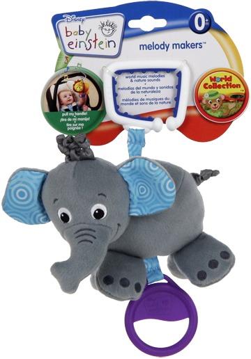 BRIGHT STARTS - Hračka na C-kroužku s melodií 0m + slon