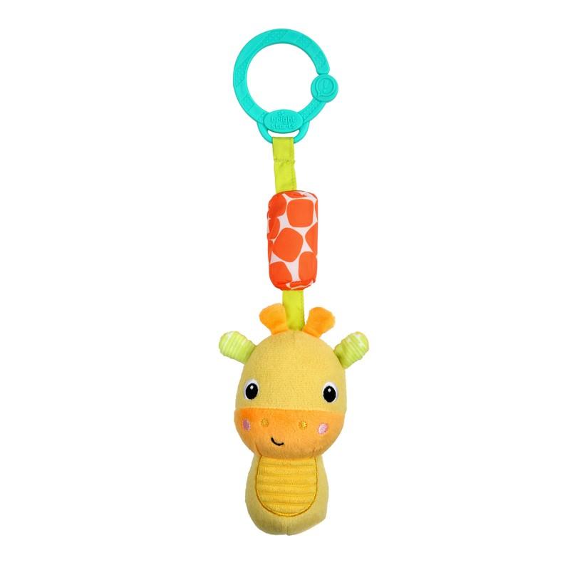 BRIGHT STARTS - Hračka plyšová chrastítko na C kroužku Chime Along Friends žirafa 0m +