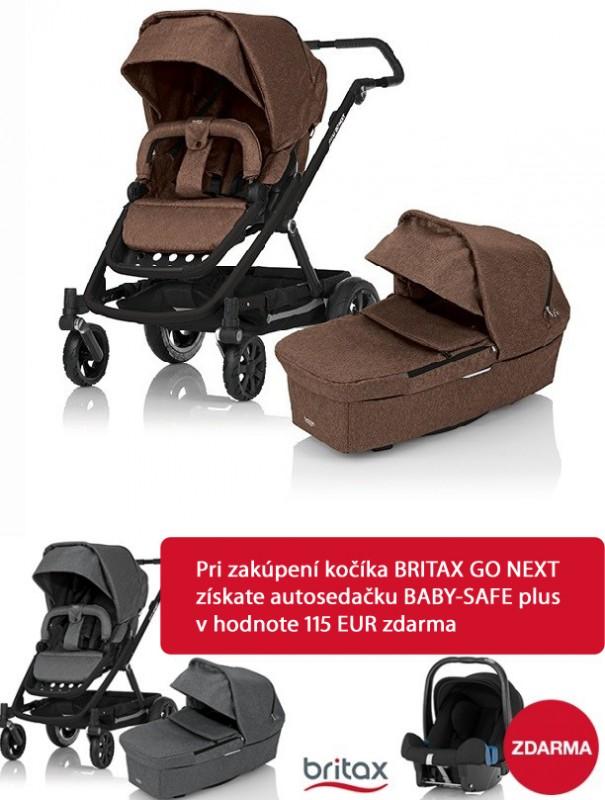 BRITAX - Kočárek GO NEXT 2015 + Vanička, barva Brown Melange + Akce Autosedačka BABY SAFE plus zdarma