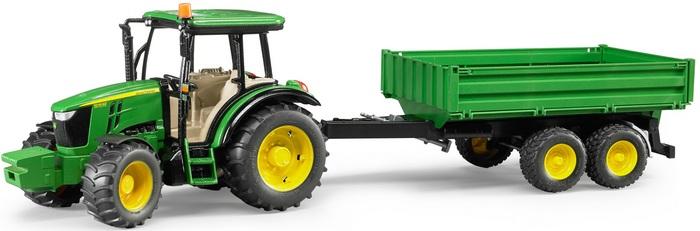 BRUDER - 02108 Traktor John Deere 5115 M s vlečkou