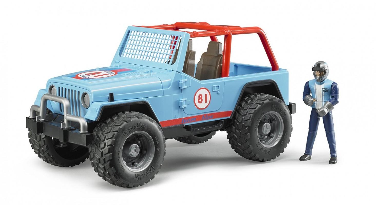 BRUDER - 02541 Jeep WRANGLER Cross Country modrý s figurkou jezdce