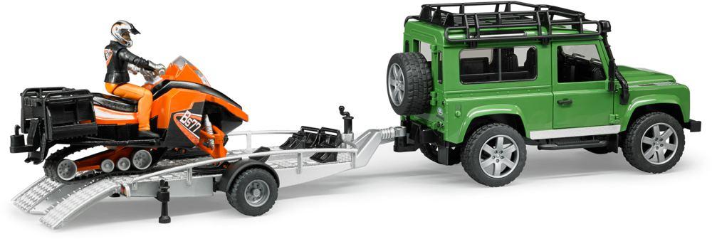 BRUDER - 02594 Land Rover s přívěsem, sněžným skútrem a figurkou