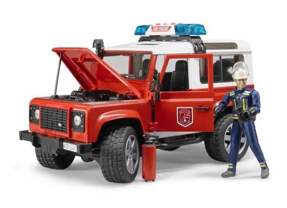BRUDER - 02596 Land Rover Defender hasičské auto s figurkou hasiče