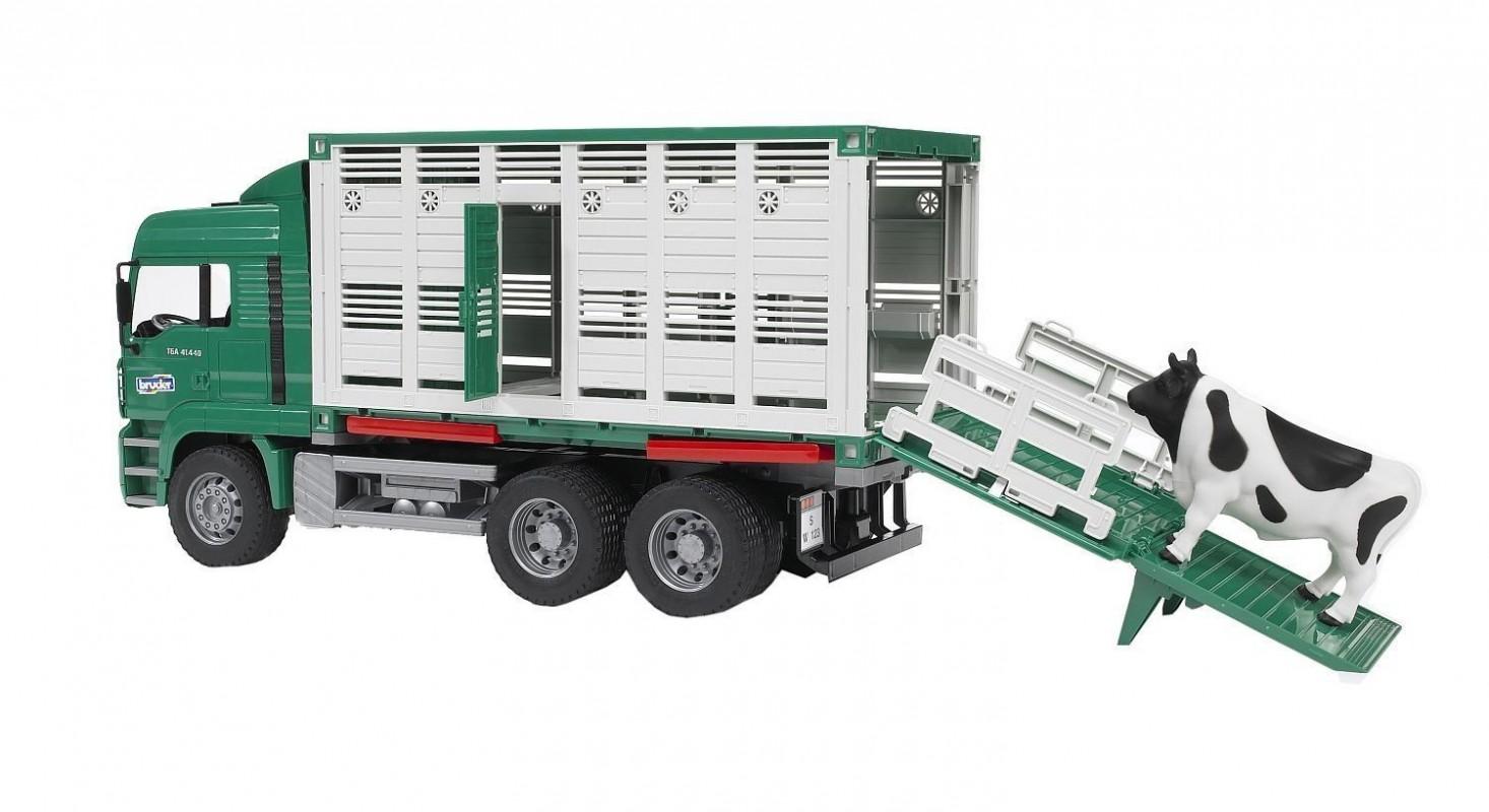 BRUDER - 02749 Nákladní automobil MAN s kontejnerem na zvířata