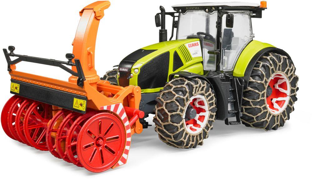 BRUDER - 3017 Traktor Claas Axion 950 se sněhovými řetězy a sněhovou frézou