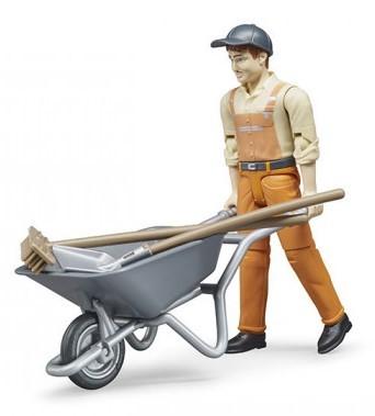 BRUDER - 62130 Figurka komunální pracovník s kolečkem
