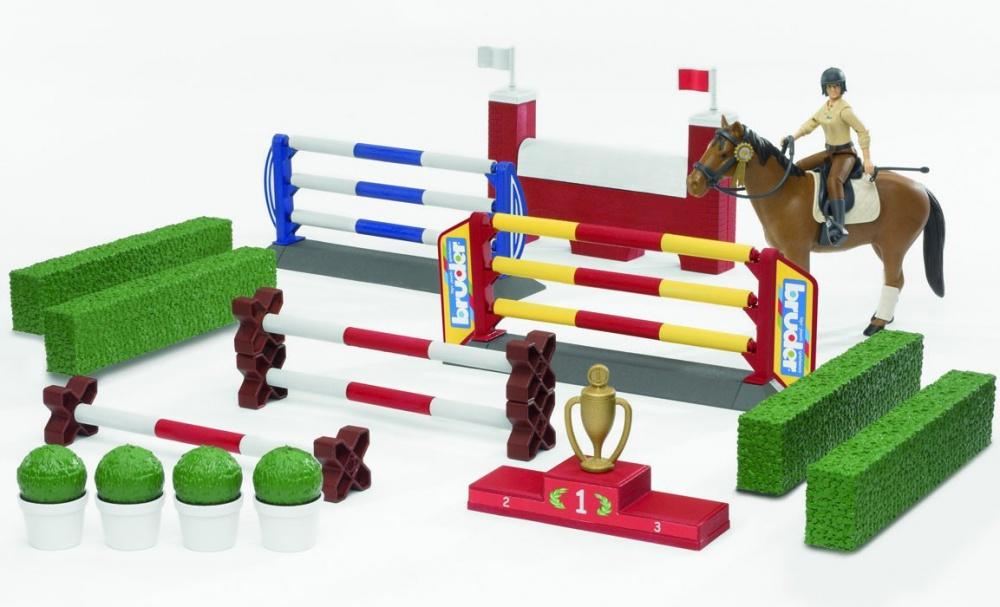 BRUDER - 62530 Bworld Set kůň s jezdcem a příslušenstvím