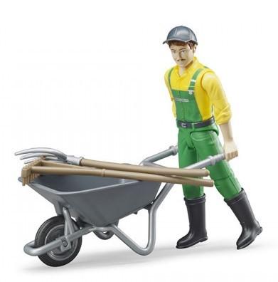 BRUDER - 62610 Figurka zemědělec s kolečkem a příslušenstvím