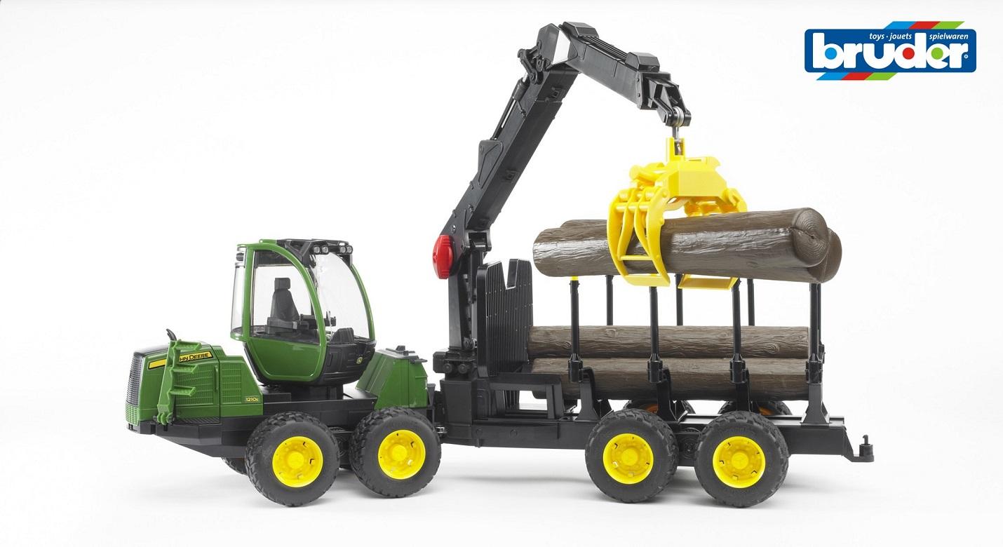 BRUDER - traktor John Deere 1210 s ramenem a 4 kládami