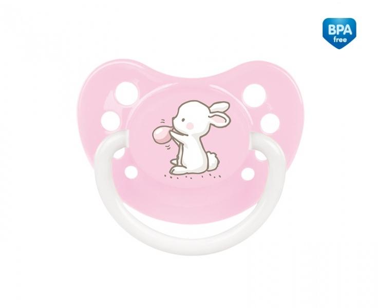 CANPOL BABIES - Dudlík anatomický, silikonový 0-6m A, Little Cutie -sv. růžový