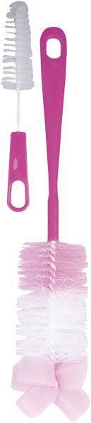 CANPOL BABIES - Kefa na čistenie fliaš s hubkou - ružová