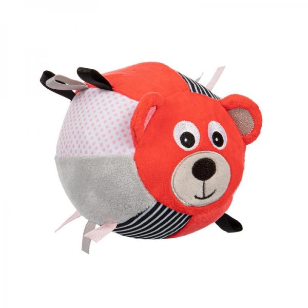 CANPOL BABIES - Plyšový edukační míček s rolničkou Medvídek - korálová