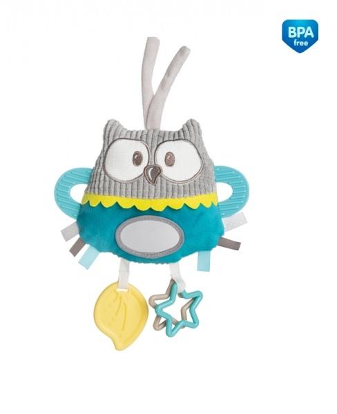 CANPOL BABIES - Plyšová edukační hračka na zavazování - Sova tyrkysová