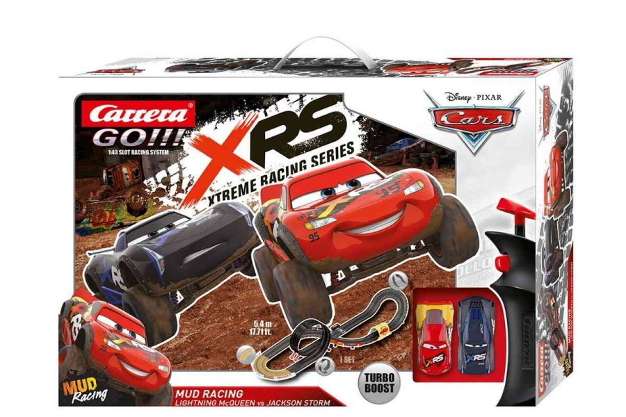 CARRERA - Autodráha Carrera GO 62478 Cars - Mud Racing, Délka trati: 5,4m. Rozměry po sestavení: 192 x 60cm