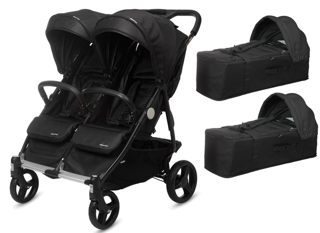 CASUALPLAY - Playxtrem sportovní kočárek pro dvojčata a sourozence a 2 x přenosná vanička Baby Twin 2019 - Irongate (Black) Casualplay