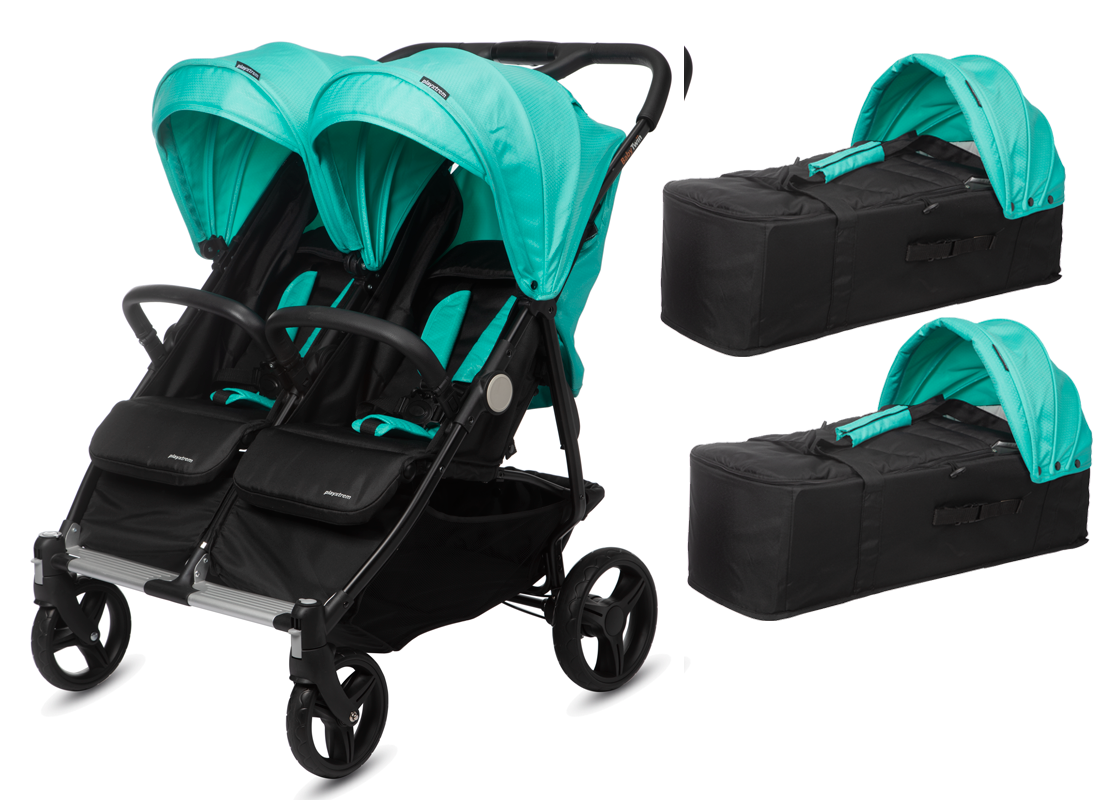 CASUALPLAY - Playxtrem sportovní kočárek pro dvojčata a sourozence a 2 x přenosná vanička Baby Twin 2019 - Jade (Green) Casualplay