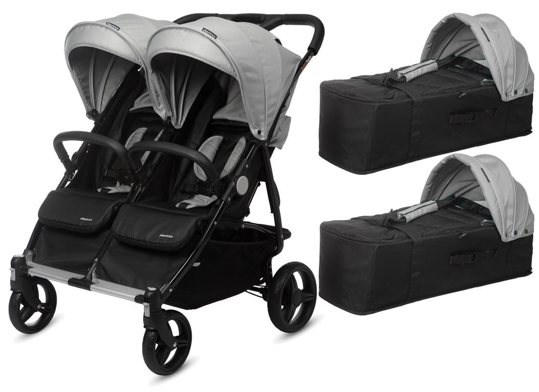 CASUALPLAY - Playxtrem sportovní kočárek pro dvojčata a sourozence a 2 x přenosná vanička Baby Twin 2019 - Silver (Plata) Casualplay