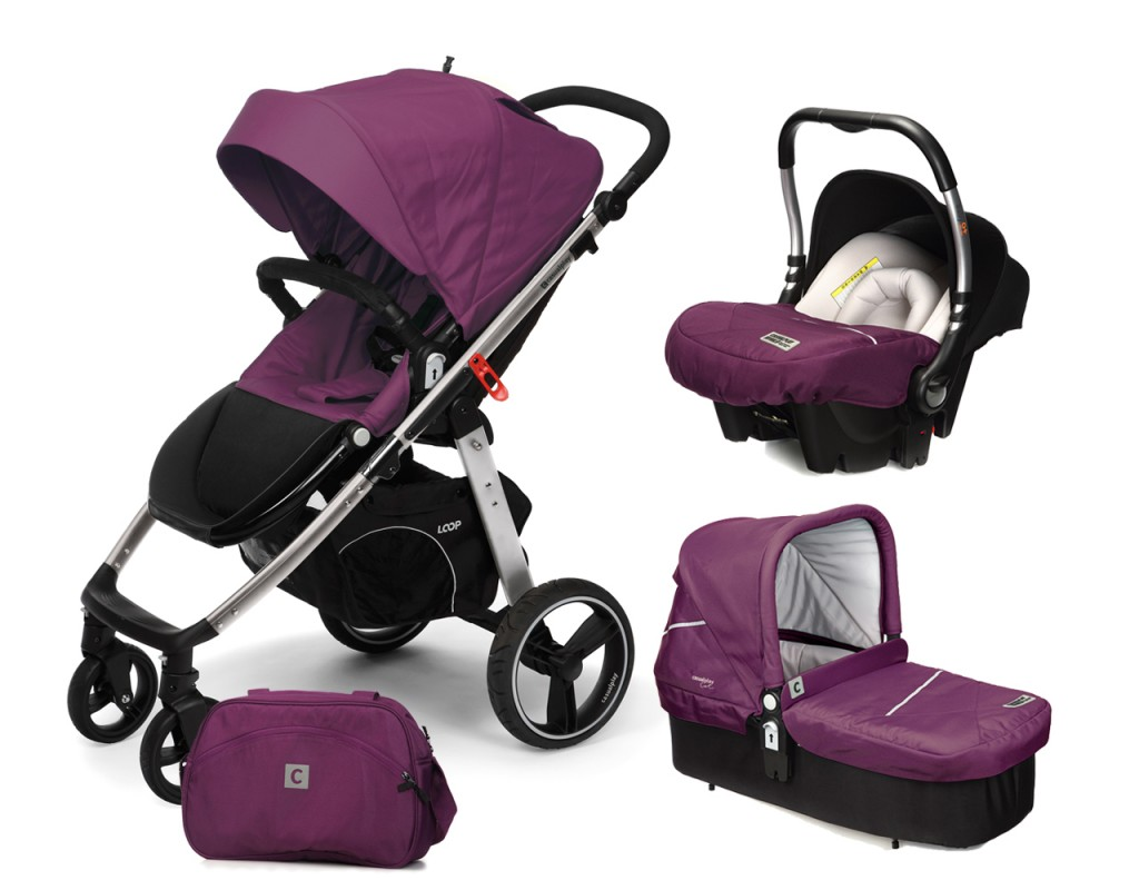 CASUALPLAY - Set kočárek LOOP Aluminium, autosedačka Baby 0plus, vanička Cot a Bag 2017 - Plum