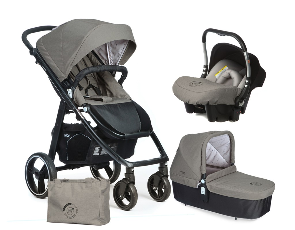 CASUALPLAY - Set kočárek LOOP, autosedačka Baby 0plus, vanička Cot a Bag 2017 - Jet
