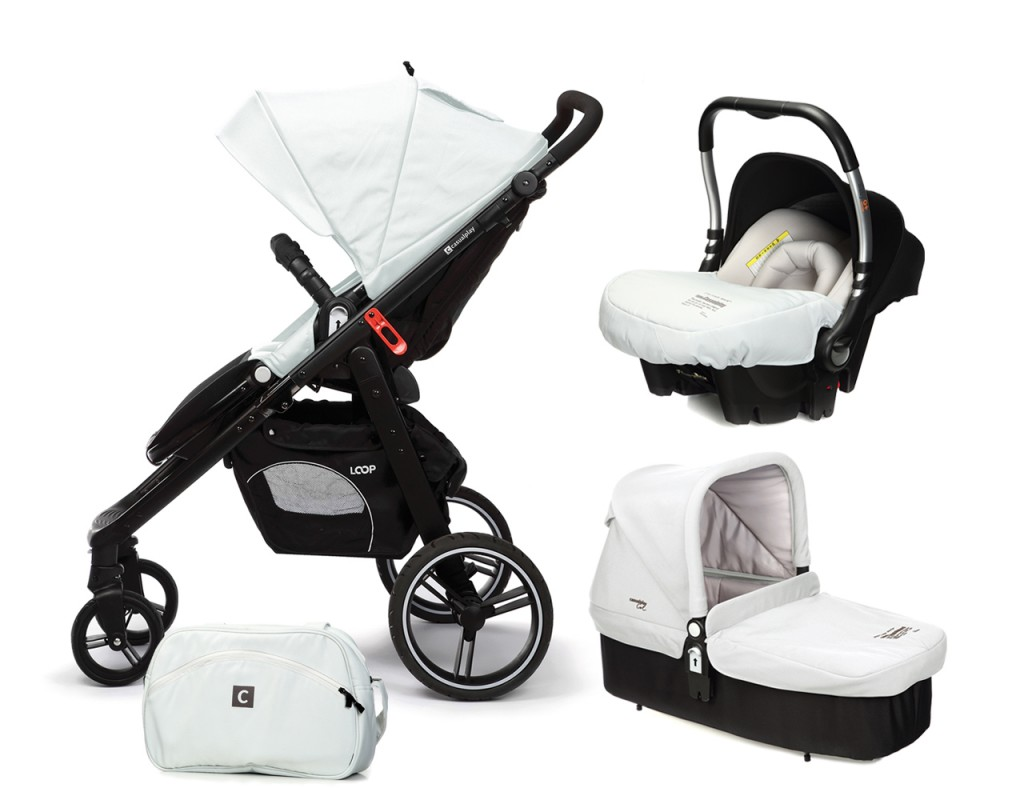 CASUALPLAY - Set kočárek LOOP, autosedačka Baby 0plus, vanička Cot a Bag 2017 - Ice