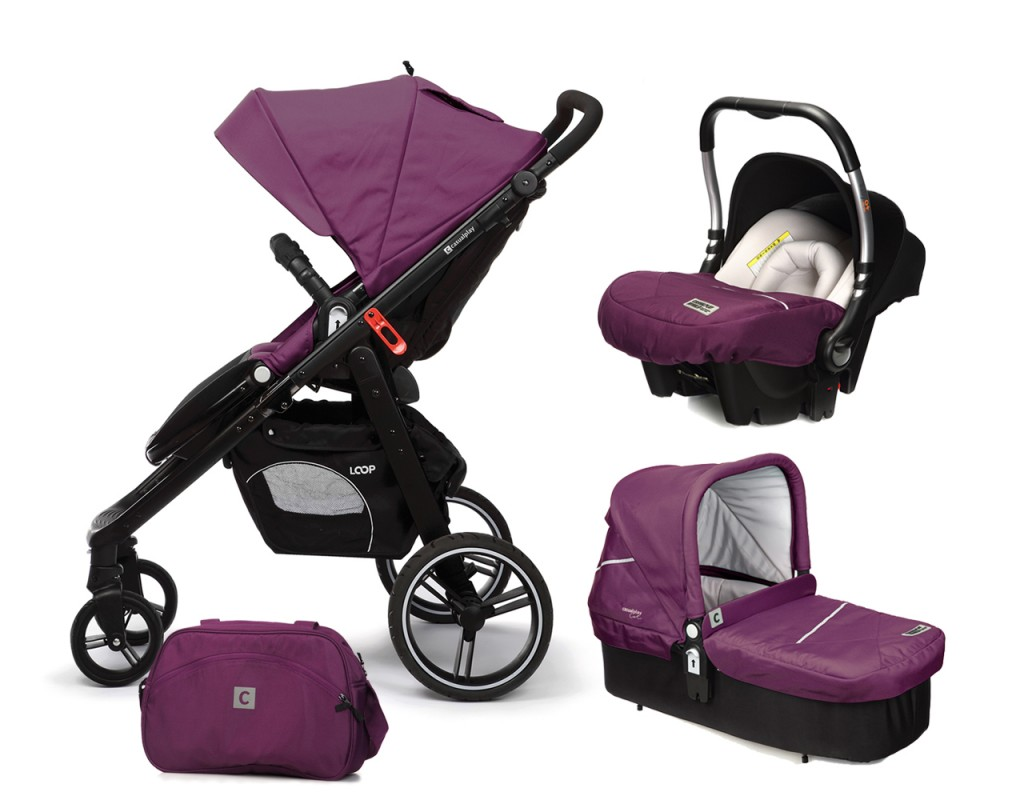CASUALPLAY - Set kočárek LOOP, autosedačka Baby 0plus, vanička Cot a Bag 2017 - Plum