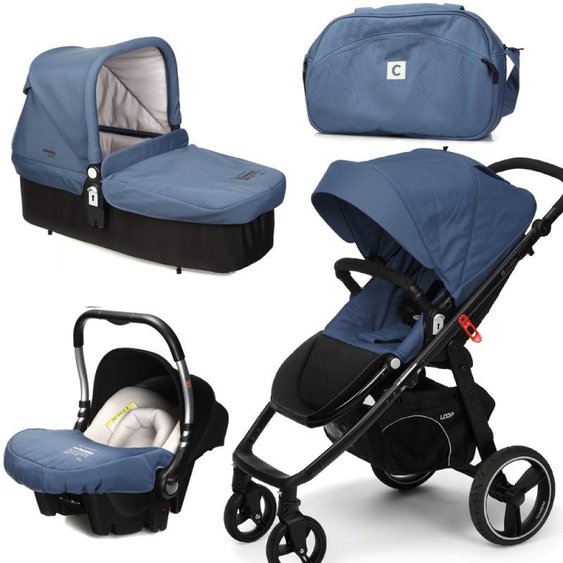 CASUALPLAY - Set kočárek LOOP, autosedačka Baby 0plus, vanička Cot a Bag 2015 - Lapis Lazuli