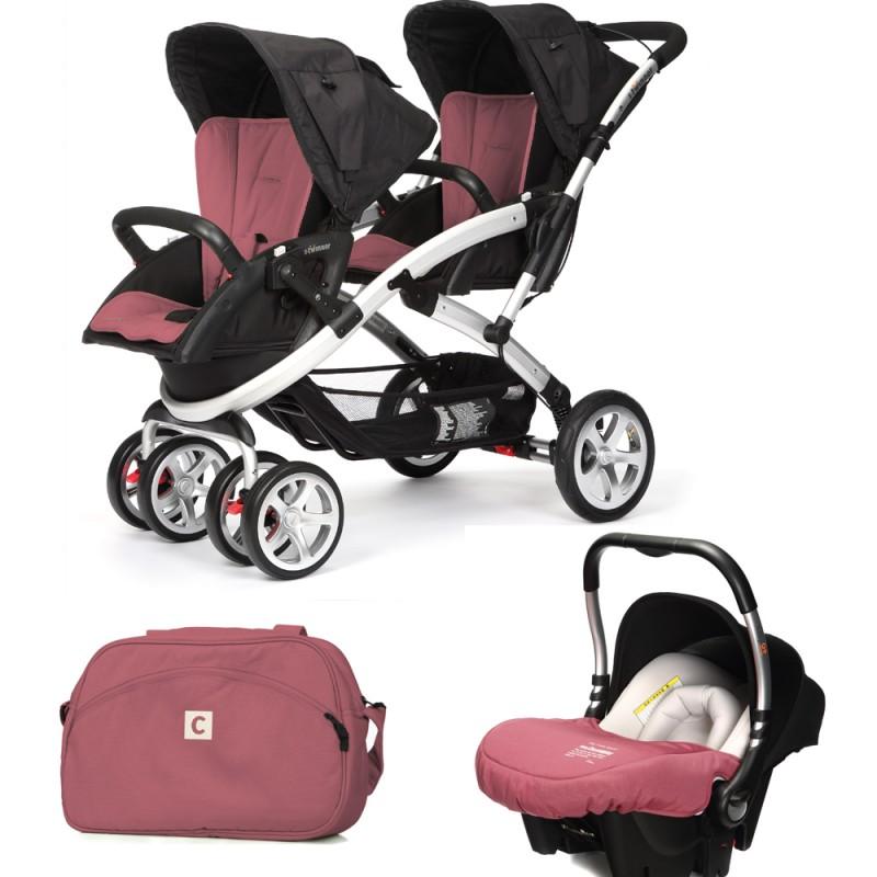 CASUALPLAY - Set kočárek pro dvojčata Stwinner, 2 x autosedačka Baby 0plus a Bag 2017 - BOREAL