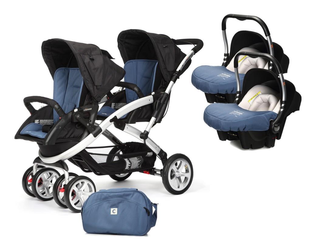 CASUALPLAY - Set kočárek pro dvojčata Stwinner, 2 x autosedačka Baby 0plus a Bag 2017 - LAPIS LAZULI