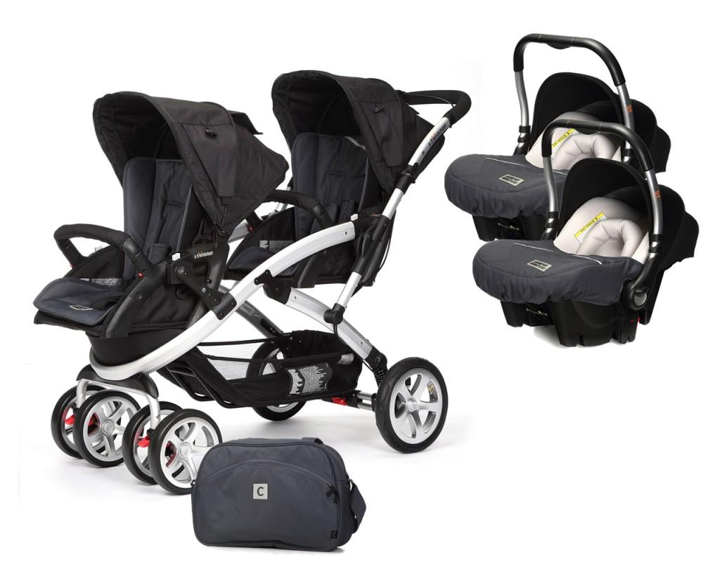 CASUALPLAY - Set kočárek pro dvojčata Stwinner, 2 x autosedačka Baby 0plus a Bag 2017 - METAL