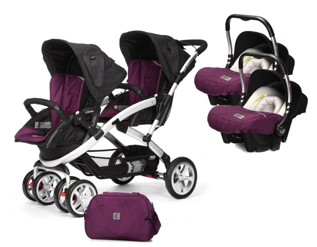 CASUALPLAY - Set kočárek pro dvojčata Stwinner, 2 x autosedačka Baby 0plus a Bag 2017 - PLUM